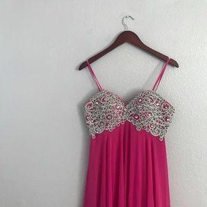 Anny Lee fuschia strapless prom dress